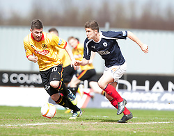 Partick Thistle's Ross Forbes and Falkirk's Stewart Murdoch..half time ; Falkirk 0 v 0 Partick Thistle, 20/4/2013..© Michael Schofield.
