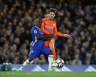 Chelsea's N'Golo Kante tussles with Manchester City's David Silva during the Premier League match at the Stamford Bridge Stadium, London. Picture date: April 5th, 2017. Pic credit should read: David Klein/Sportimage