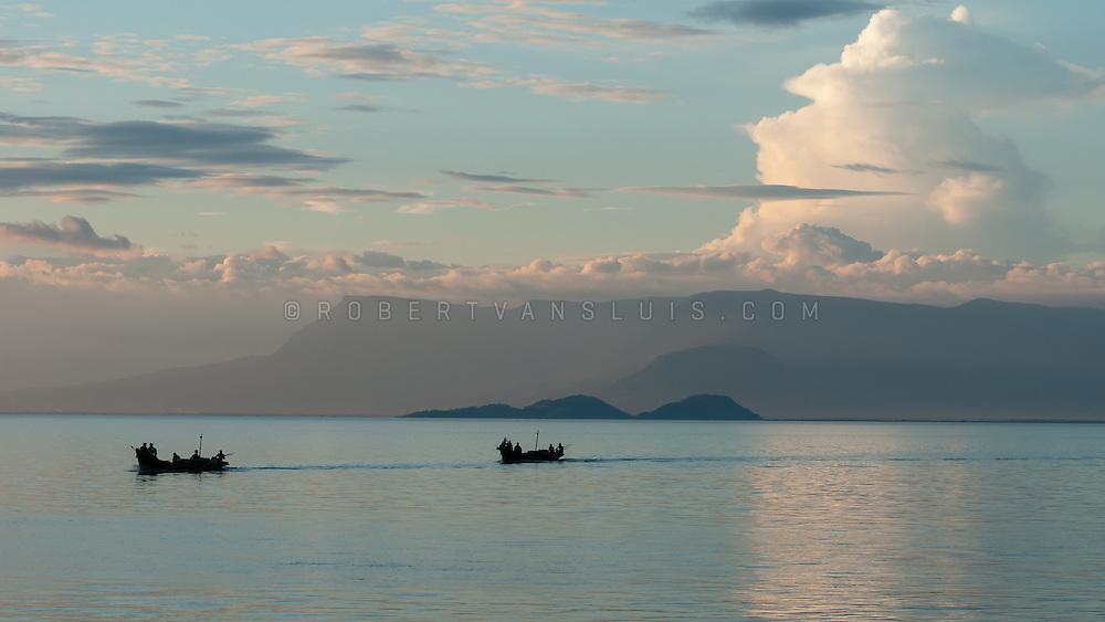 Fishing boats returning home near Kep, Cambodia