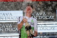Podium, Champagne, Benjamin King (USA - Dimension Data) winner, during the UCI World Tour, Tour of Spain (Vuelta) 2018, Stage 4, Velez Malaga - Alfacar Sierra de la Alfaguara 161,4 km in Spain, on August 28th, 2018 - Photo Luis Angel Gomez / BettiniPhoto / ProSportsImages / DPPI
