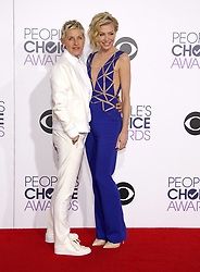 Ellen DeGeneres and Portia de Rossi at the 41st Annual People's Choice Awards held at the Nokia L.A. Live Theatre in Los Angeles on January 7, 2015. Credit: Lumeimages.com (Photo by Lumeimages) *** Please Use Credit from Credit Field ***