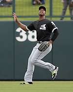 GLENDALE, ARIZONA - FEBRUARY 23:  Eloy Jimenez #74 of the Chicago White Sox fields during the game against the Los Angeles Dodgers on February 23, 2018 at Camelback Ranch in Glendale Arizona.  (Photo by Ron Vesely)  Subject:   Eloy Jimenez