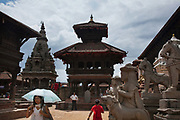 Bhaktapur Durbar Square , one of the world heritage sites in Nepal.  Bhaktapur was in the past the capital of Nepal.Summer is rainy season and not many tourists visit Nepal at this time of year.