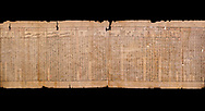"""Anciient Egyptian Book of the Dead papyrus - Spell 30 for stopping the heart betraying the deceased at the tribunal of Osiris, Iufankh's Book of the Dead, Ptolemai period (332-30BC).Turin Egyptian Museum.  Black background<br /> <br /> the spell reads ' Stand not against me as a witness, oppose me not in the Council, act not against me before the gods, outweigh me not before the great God, the Lord os the West""""<br /> <br /> The translation of  Iuefankh's Book of the Dead papyrus by Richard Lepsius marked a truning point in the studies of ancient Egyptian funereal studies. .<br /> <br /> If you prefer to buy from our ALAMY PHOTO LIBRARY  Collection visit : https://www.alamy.com/portfolio/paul-williams-funkystock/ancient-egyptian-art-artefacts.html  . Type -   Turin   - into the LOWER SEARCH WITHIN GALLERY box. Refine search by adding background colour, subject etc<br /> <br /> Visit our ANCIENT WORLD PHOTO COLLECTIONS for more photos to download or buy as wall art prints https://funkystock.photoshelter.com/gallery-collection/Ancient-World-Art-Antiquities-Historic-Sites-Pictures-Images-of/C00006u26yqSkDOM"""