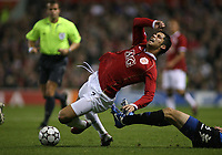 Photo: Paul Thomas.<br /> Manchester United v FC Copenhagen. UEFA Champions League, Group F. 17/10/2006.<br /> <br /> Cristiano Ronaldo of Man Utd gets fouled from behind.