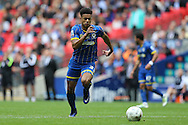 Lyle Taylor of AFC Wimbledon charges for the ball. Skybet football league two play off final match, AFC Wimbledon v Plymouth Argyle at Wembley Stadium in London on Monday 30th May 2016.<br /> pic by John Patrick Fletcher, Andrew Orchard sports photography.