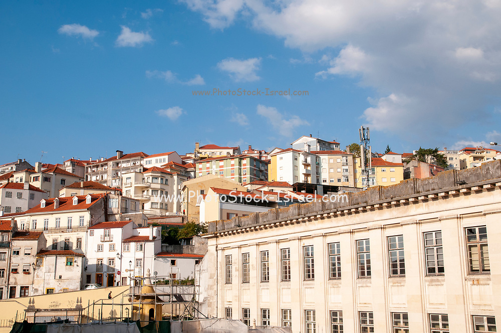 Coimbra cityscape. houses built up to the top of the hill, Coimbra, Portugal