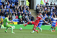 Southampton's Jay Rodriguez (9) shoots and scores the 1st goal past Reading keeper Adam Federici. Barclays Premier league, Reading v Southampton at the Madejski stadium in Reading on Saturday 6th April 2013. pic by Andrew Orchard, Andrew Orchard sports photography,