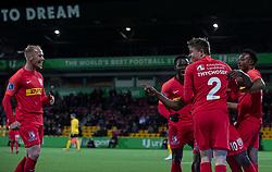 FC Nordsjælland spillerne jubler efter scoringen til 4-0 under kampen i 3F Superligaen mellem FC Nordsjælland og AC Horsens den 19. februar 2020 i Right to Dream Park, Farum (Foto: Claus Birch).