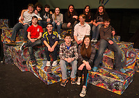 """Techie Crew on the set at Gilford High School for their upcoming One Act """"Eurydice"""" playing at the State Festival this weekend.  (top row l-r) Dawson Ellis, Anthony Eldridge, Matthew Schwartzkopf, Kendra Tibbals, Gavin Duqette, Katelynn Duval and Lou Lacroix.  (middle row l-r) Jakob Deyarmond, Maccoy Bourgeois, Jacob Davis and Tristan Veroff. (bottom row l-r) Ryan Dubois and Rachel Williams.  Tech Director Scott Piddington (not in photo)    (Karen Bobotas/for the Laconia Daily Sun)"""