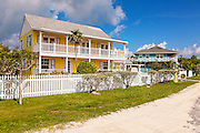 Pastel colored homes at Green Turtle Cay, Bahamas.