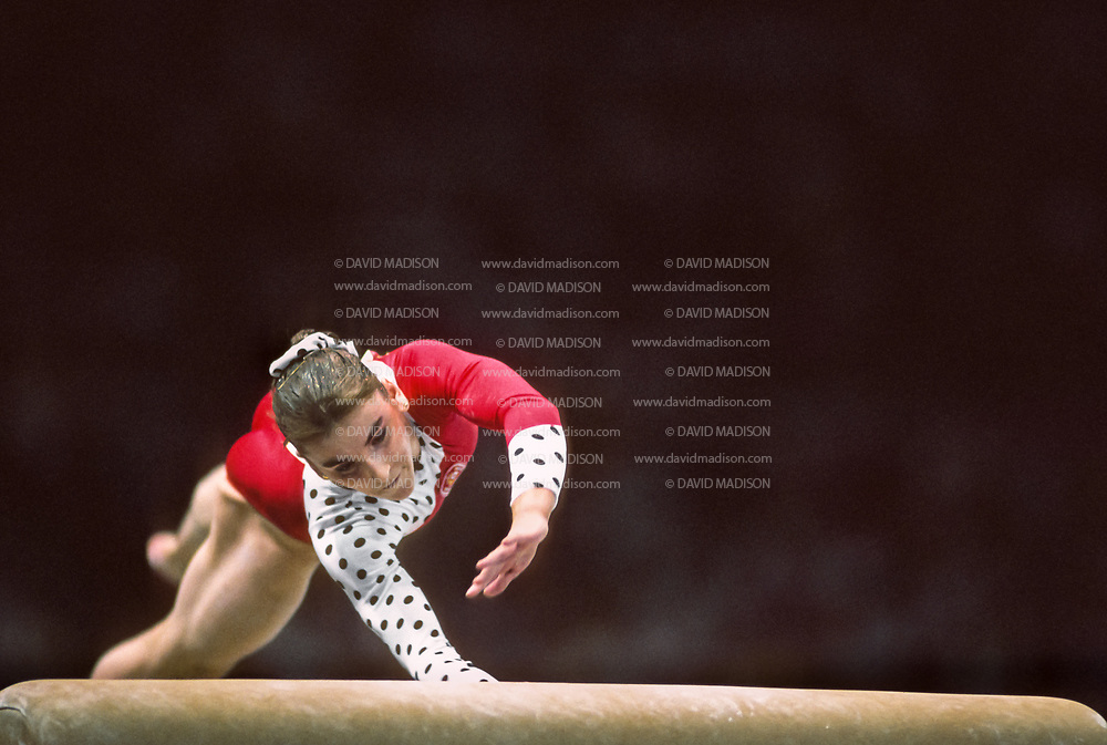 SEATTLE - JULY 1990:  Eva Rueda of Spain performs on the vault during the gymnastics competition of the 1990 Goodwill Games held from July 20 - August 5, 1990.  The gymnastics venue was the Tacoma Dome in Tacoma, Washington.  (Photo by David Madison/Getty Images)