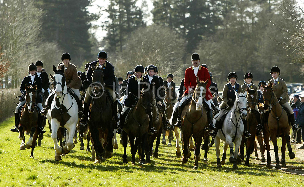 Out on the Surrey Union hunt. The Surrey Union has been hunting in Surrey since the 18th century and hunts on into the 21st century, albeit within the restrictions of Hunting Act. The Hunt meets on Tuesdays and alternate Fridays and Saturdays during the main part of the season (but generally Tuesdays, Thursdays and Saturdays after the end of shooting)and is pleased to welcome visitors and supporters, mounted or on foot. It is generally accepted that the Surrey Union dates back to 1798, and was probably so named following the amalgamation of two private packs belonging to the Leech family of Lea Park, Godalming, and the Rev. Samuel Godschall of Albury. The hunt button to this day bears the letters UH and it is likely the combined pack was known simply as the Union Hunt in its earliest days.