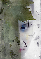 """Mysterious feminine face concelaed by green. Mixed medium photograph.<br /> :::<br /> """"""""When seeking guidance, don't ever listen to the tiny-hearted. Be kind to them, heap them with blessing, cajole them, but do not follow their advice. If you have ever been called defiant, incorrigible, forward, cunning, insurgent, unruly, rebellious, you're on the right track. Wild Woman is close by. If you have never been called these things, there is yet time. Practice your Wild Woman. Andele! And again.""""<br /> -Dr. Clarissa Pinkola Estes"""