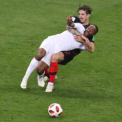 July 11, 2018 - Moscow, Russia - July 11, 2018, Moscow, FIFA World Cup 2018 Football, the playoff round. 1/2 finals of the World Cup. Football match Croatia - England at the stadium Luzhniki. Player of the national team Raheem Sterling; Shime Vrsalco. (Credit Image: © Russian Look via ZUMA Wire)