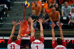 15-09-2019 NED: EC Volleyball 2019 Netherlands - Poland, Rotterdam<br /> First round group D - Poland win 3-0 / Nimir Abdelaziz #14 of Netherlands
