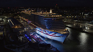 """Britain's largest and most environmentally-friendly cruise ship is named in a record-breaking virtual ceremony.<br /> <br /> Britain's largest and most environmentally-friendly cruise ship, P&O Cruises Iona, has been officially named in a very contemporary ceremony with a record-breaking virtual audience.<br /> <br /> Iona, powered by liquefied natural gas, ground-breaking for the UK cruise industry and one of the cleanest fuels in the world, arrived for the first time into her home port of Southampton this morning ahead of tonight's official naming ceremony.<br /> <br /> The ship was officially named tonight by Dame Irene Hays, chair of Hays Travel, Britain's largest independent travel agency, in a glittering quayside ceremony by the bow of the ship. <br /> <br /> The event, held at sunset, was hosted by Jo Whiley and broadcast to a """"virtual"""" audience of over 25,000 guests. The highlight of the show was a rousing set from Iona's music director Gary Barlow performing two iconic Take That hits """"Greatest Day and """"Rule the World"""" against the backdrop of a spectacular laser show.<br /> <br /> A specially produced Nebuchadnezzar (equivalent to 20x 750ml bottles) of Alex James's Britpop cider smashed against the hull of the ship in spectacular style to bring it good fortune in the future.  <br /> There was also a special performance by The Commonwealth Youth Orchestra and Choir and Mica Paris singing Believe, a song which was composed by Simon Haw MBE and was dedicated to Her Majesty The Queen, head of the Commonwealth, for its 70th anniversary in 2019.<br /> <br /> Picture date Sunday 16th May, 2021.<br /> Picture by Christopher Ison. Contact +447544 044177 chris@christopherison.com<br /> <br /> For further press information please contact: <br /> Michele Andjel, michele.andjel@carnivalukgroup.com 023 8065 6653 / 07730 732 072<br /> Laura Tattam, laura.tattam@pocruises.com 02380 656651 / 07771 283 845<br /> Jenny Hadley, jenny.hadley@pocruises.com  023 8065 6650 / 07825 """
