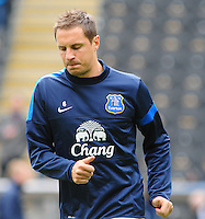Everton's Phil Jagielka during the pre-match warm-up <br /> <br /> Photographer Chris Vaughan/CameraSport<br /> <br /> Football - Barclays Premiership - Hull City v Everton - Sunday 11th May 2014 - Kingston Communications Stadium - Hull<br /> <br /> © CameraSport - 43 Linden Ave. Countesthorpe. Leicester. England. LE8 5PG - Tel: +44 (0) 116 277 4147 - admin@camerasport.com - www.camerasport.com