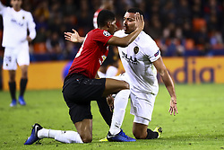 December 12, 2018 - Valencia, Spain - Eric Bailly of Manchester United  (L) and Ruben Vezo of Valencia CF  during UEFA Champions League Group H between Valencia CF and Manchester United at Mestalla stadium  on December 12, 2018. (Photo by Jose Miguel Fernandez/NurPhoto) (Credit Image: © Jose Miguel Fernandez/NurPhoto via ZUMA Press)