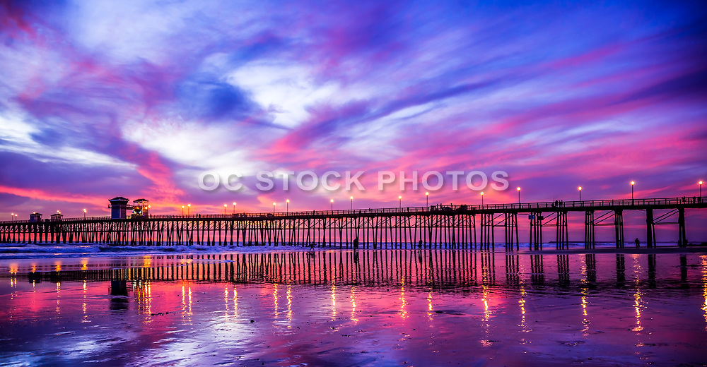 Vivid Colors At Oceanside Pier During Sunset
