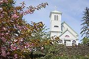 USA,Alaska,A summer view of the Saint Rose of Lima Catholic Church in Wrangell.