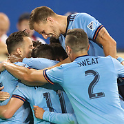 HARRISON, NEW JERSEY- AUGUST 25: Maximiliano Moralez #10 of New York City FC is congratulated by team mates after scoring during the New York Red Bulls Vs New York City FC MLS regular season match at Red Bull Arena, Harrison, New Jersey on August 25, 2017 in Harrison, New Jersey. (Photo by Tim Clayton/Corbis via Getty Images)