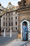 A guard stands to attention in front of Prague castle, Prague, Czech Republic. .
