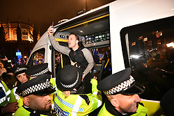 © Licensed to London News Pictures. 15/01/2019. London, UK. An anti EU campaigner Is arrested by police outside Parliament in Westminster, London, on the day that MP's will vote on British Prime Minster Theresa May's proposed transition deal with the EU on the UK's exit from the European Union. Photo credit: Ben Cawthra/LNP