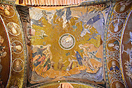 The 11th century Roman Byzantine Church of the Holy Saviour in Chora and its mosaic of Satan trying to deceive Jesus (panel D-8). Endowed between 1315-1321  by the powerful Byzantine statesman and humanist Theodore Metochites. Kariye Museum, Istanbul .<br /> <br /> If you prefer to buy from our ALAMY PHOTO LIBRARY  Collection visit : https://www.alamy.com/portfolio/paul-williams-funkystock/holy-saviour-chora-istanbul.html<br /> <br /> Visit our TURKEY PHOTO COLLECTIONS for more photos to download or buy as wall art prints https://funkystock.photoshelter.com/gallery-collection/3f-Pictures-of-Turkey-Turkey-Photos-Images-Fotos/C0000U.hJWkZxAbg
