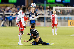 June 13, 2018 - San Jose, CA, U.S. - SAN JOSE, CA - JUNE 13: New England Revolution Defender Jalil Anibaba (3) gets the ball over San Jose Earthquakes Forward Chris Wondolowski (8) during the MLS game between the New England Revolution and the San Jose Earthquakes on June 13, 2018, at Avaya Stadium in San Jose, CA. The game ended in a 2-2 tie. (Photo by Bob Kupbens/Icon Sportswire) (Credit Image: © Bob Kupbens/Icon SMI via ZUMA Press)