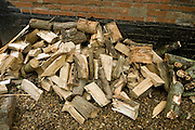 Pile of chopped wood for domestic fuel