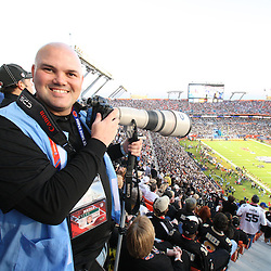 2010 February 07: Photographer Derick E. Hingle shooting from above the field during Super Bowl XLIV between the New Orleans Saints and the Indianapolis Colts at Sun Life Stadium in Miami, Florida.
