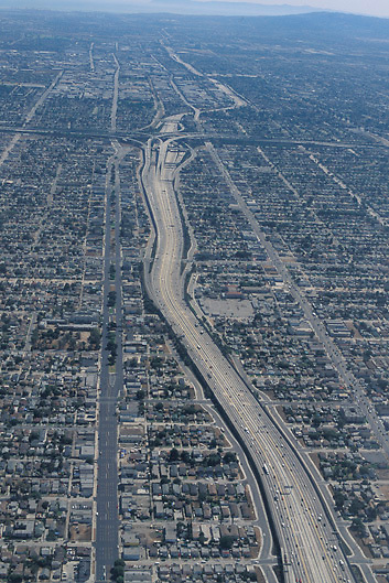 Aerial view of suburbs and 405 San Diego freeway Loa Angeles Southern California USA