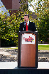 19 September 2009: Illinois State Athletic Director Sheahon Zenger gives a few opening remarks before Illinois State University took the day to celebrate 2 of it's own, the late Will Robinson and national hero Doug Collins.  Will Robinson became the first black head basketball coach in NCAA Division I history when names ISU basketball coach in 1970.  Doug Collins was an Illinois State standout basketball player who represented the United States in the 1972 Olympics, played NBA ball for several years where he later coached and recently recieved the Curt Gowdy Media Award for career in broadcasting.  A statue was erected in their honor on the terrace just north of the main entrance to Redbird Arena on ISU's campus in Normal IL