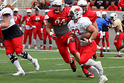 21 April 2018:   Kielbasa sprints left  Illinois State Redbirds Spring Scrimmage Football game at Hancock Stadium in Normal IL (Photo by Alan Look)