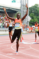 Samsung Diamond League adidas Grand Prix track & field; men's 800 meters, David Rudisha, KEN, winner, finish line celebration