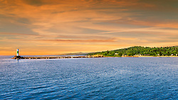 Sunset begins to fall along the North Shore near Grand Marais, Minnesota