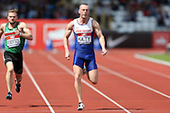 Richard Kilty competing in the Men's 100m Semi-Final race. The British Championships 2016, athletics event at the Alexander Stadium in Birmingham, Midlands  on Saturday 25th June 2016.<br /> pic by John Patrick Fletcher, Andrew Orchard sports photography.