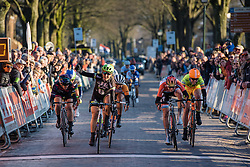 Time to celebrate for Leah Kirchmann as she picks up her first European win - Drentse 8, a 140km road race starting and finishing in Dwingeloo, on March 13, 2016 in Drenthe, Netherlands.