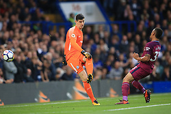 30 September 2017 -  Premier League - Chelsea v Manchester City - Gabriel Jesus of Manchester City almost scores with a rebound from Chelsea goalkeeper Thibaut Courtois  - Photo: Marc Atkins/Offside