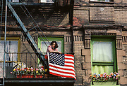 Woman and America Flag, 9th Ave Street Festival, New York City, New York, USA, May 1983