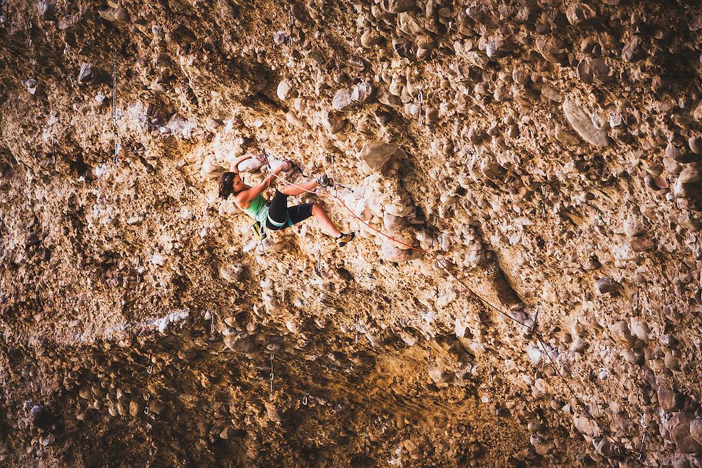 esther smith climbs 911, 5.13a, Maple Canyon, Utah.