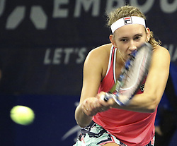 October 18, 2017 - Luxembourg, Luxembourg - Belgian player ELISE MERTENS in action against Madison Brengle of the USA during their match at the Luxembourg Open. Mertens won 2:1. (Credit Image: © Panoramic via ZUMA Press)