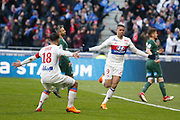 Mariano Diaz of Lyon and Nabil Fekir of Lyon during the French Championship Ligue 1 football match between Olympique Lyonnais and AS Saint-Etienne on february 25, 2018 at Groupama stadium in Décines-Charpieu near Lyon, France - Photo Romain Biard / Isports / ProSportsImages / DPPI