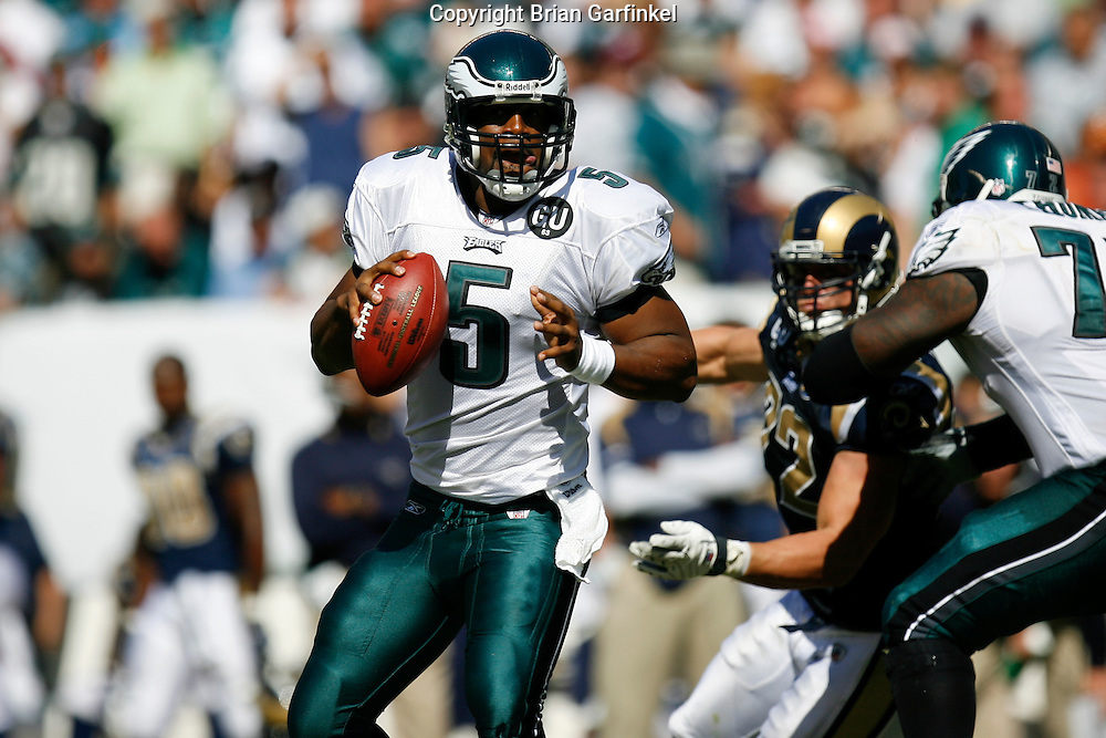 6 Sept 2008: Philadelphia Eagles quarterback Donovan McNabb #5  looks for a passer during the game against the St Louis Rams on August 28, 2008. The Eagles beat the Rams 38-3 at Lincoln Financial Field in Phialdelphia, Pennsylvania.