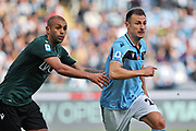Danilo Larangeira of Bologna (L) and Stefan Radu of Lazio (R) in action during the Italian championship Serie A football match between SS Lazio and Bologna FC at Stadio Olimpico, Saturday, Feb. 29, 2020, in Rome, Italy.(Federico Proietti-ESPA-Images/Image of Sport)