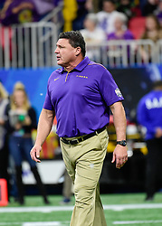 LSU Tigers head coach Ed Orgeron prior to the 2019 College Football Playoff Semifinal at the Chick-fil-A Peach Bowl on Saturday, Dec. 28, in Atlanta. (Vasha Hunt via Abell Images for the Chick-fil-A Peach Bowl)
