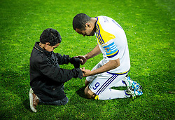 Marcos Morales Tavares #9 of NK Maribor with his son praying after winning during football match between NK Celje and NK Maribor in Final of Slovenian Cup 2016, on May 25, 2016 in Stadium Bonifika, Koper, Slovenia. Photo by Vid Ponikvar / Sportida