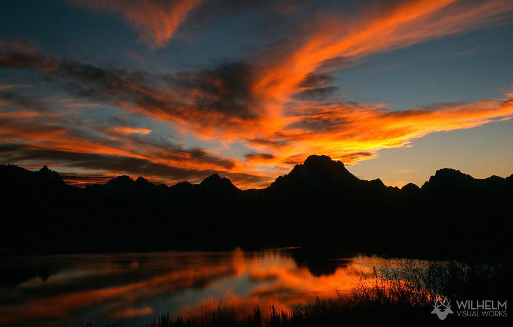 Sunset over the tetons in Jackson, WY.  ©2002 Brett Wilhelm/Brett Wilhelm Photography | www.brettwilhelm.com