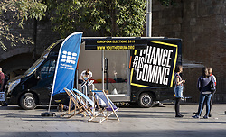 March 22, 2019 - Barcelona, Catalonia, Spain - The European Youth Forum campaign bus is seen at the center of Barcelona..From the 18th March to 5th April, the European Youth Forum will be travelling across Europe in a campaign bus, bringing European politics to the local level. (Credit Image: © Paco Freire/SOPA Images via ZUMA Wire)